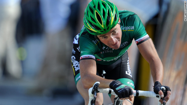 Voeckler crosses the finish line first at the mountaintop finish at Bellegarde-sur-Valserine on Wednesday.