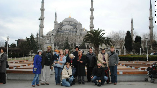 Members of the inaugural &quot;Muslim for a Month&quot; tour stand before the Blue Mosque in Istanbul, Turkey.