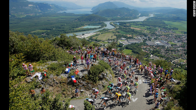 Riders make their way up the Col du Grand Columbier, the most challenging climb of the race, rated as