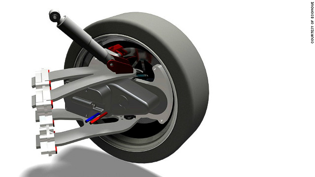 Specially designed in-wheel motors drive the car. ECOmove plan to offer two-wheel and four-wheel drive versions. 