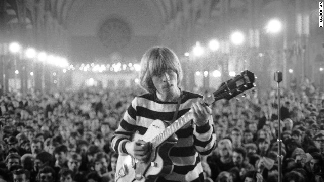 Brian Jones performs at Alexandra Palace, London, in 1964. One of the founding members of the band, Jones was found dead in his pool at Cotchford Farm, Sussex, on July 2, 1969. He was 27.