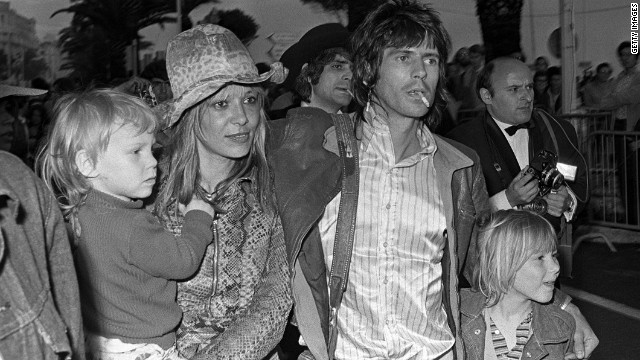 Keith Richards with girlfriend Anita Pallenberg and their two children at the Cannes Film Festival in 1971. Italian model Anita orginally dated Brian Jones before becoming Keith's partner from 1967 to 1979.