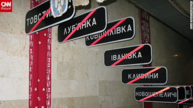These signs at the Chernobyl Musuem in Kiev act as a haunting reminder of &quot;just some of the towns and villages wiped off the map by the Chernobyl nuclear disaster in 1986,&quot; says Doug Simonton. Chernobyl would also have destroyed Kiev &quot;if the prevailing winds on 26 April 1986 had been blowing south vs. north,&quot; he adds.