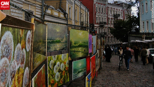 &quot;My trip to the Ukraine was one of the most memorable experiences I've ever had,&quot; says Jill Thornton of Kailua-Kona, Hawaii. This image captures a selection of local paintings for sale at a Saturday street market in the capital city, Kiev. &quot;There was so much to look at, and so many things to buy for an affordable price,&quot; she says. 