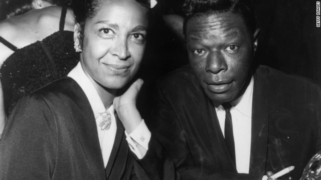 American singer Nat King Cole and his wife Maria at the opening ceremony of the Coconut Grove in Hollywood in 1964.
