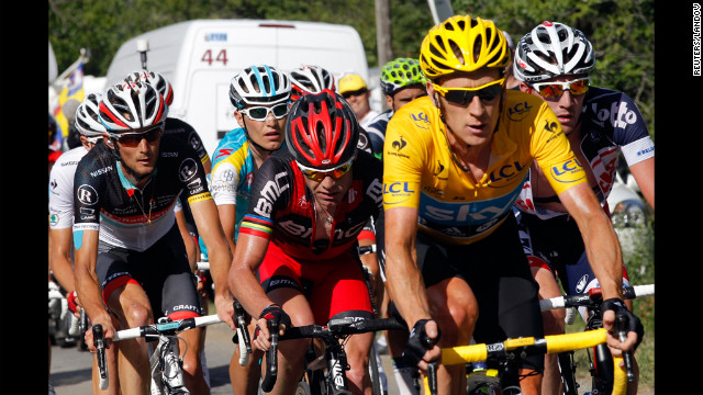 Overall race leader Bradley Wiggins of Britain rides ahead of Cadel Evans of Australia, who started Thursday's stage in second place.
