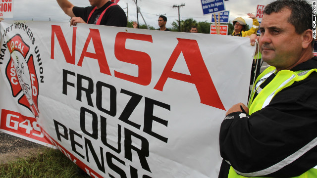 Firefighters at Kennedy Space Center protest possible pay cuts