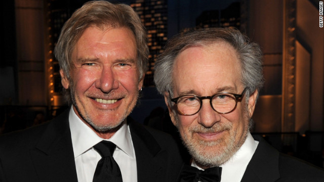 "Actor Harrison Ford (l) and AFI Board Member Steven Spielberg pose during the 38th AFI Life Achievement Award ceremony in 2010. The pair first worked together on ""Raiders of the Lost Ark"" in 1981."