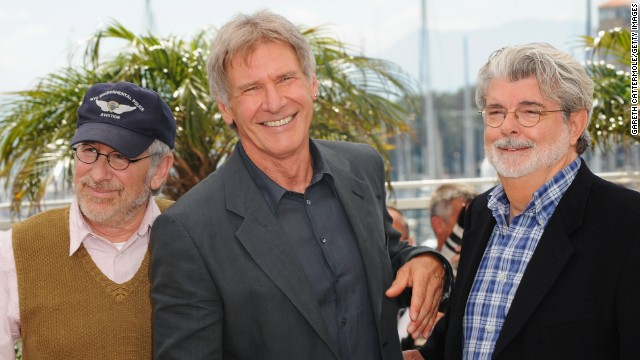 "Director/producer George Lucas, actor Harrison Ford and Director Steven Spielberg pose at the ""Indiana Jones and The Kingdom of The Crystal Skull"" photocall at the Palais des Festivals during the 61st International Cannes Film Festival on May 18 , 2008 in Cannes, France. (Photo by Gareth Cattermole/Getty Images)"