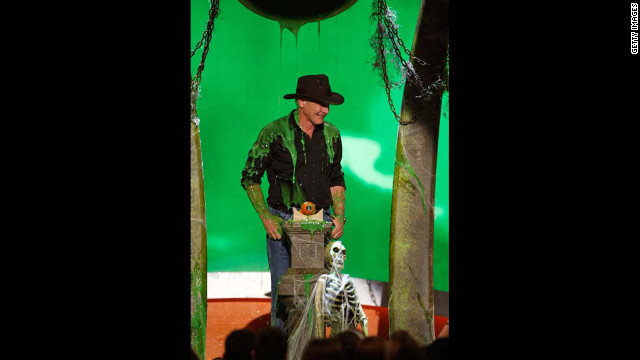 Harrison Ford gets slimed during Nickelodeon's 2008 Kids' Choice Awards held at UCLA's Pauley Pavilion in Westwood, California.