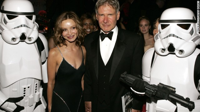 May the force be with them! Flockhart and Ford pose with storm troopers at the 33rd AFI Life Achievement Award after party in 2005.