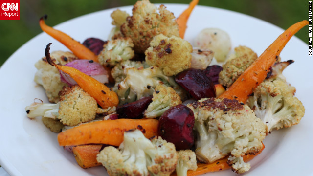 One of Mavis' favorite homegrown meals is roasted cauliflower, which she cooks at 400 degrees for 20 minutes and tosses in olive oil and pepper. 