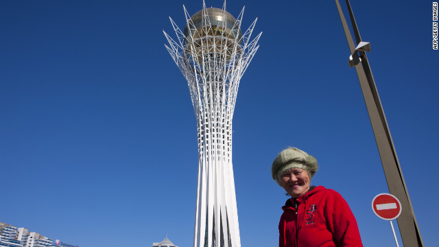 The 100-meter-tall tower has been compared to a giant lollipop and is meant to evoke the local legend of the &quot;Tree of Life&quot;. It was based on a sketch by President Nursultan Nazarbayev who has been instrumental in the development of Kazakhstan since coming to power in 1991. 