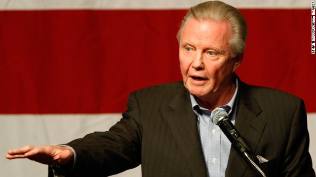 Jon Voight speaks at a rally for U.S. Republican Senate candidate Sharron Angle at The Orleans in Las Vegas, Nevada, in 2010. He has endorsed Mitt Romney in the current race. In an open letter to President Obama in the Washington Times in 2010, he wrote: &quot;You have brought to Arizona a civil war, once again defending the criminals and illegals, creating a meltdown for good, loyal, law-abiding citizens.&quot;