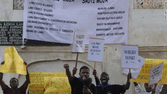 Lamu residents demonstrate on March 1, 2012 against the plan to build a huge port. A coalition of local civil society groups are suing the government to ensure that proper environmental assessments are completed and that if the project goes ahead, residents take advantage of its benefits.