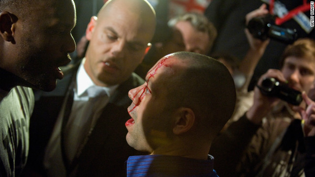 The Haye and Chisora teams then got involved in a violent brawl. Haye's manager Adam Booth was left with a bloodied face after being allegedly struck with a bottle.