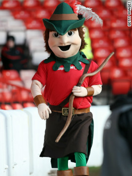 Forest's &quot;Robin Hood&quot; mascot on parade during a third-division match in 2007. The club narrowly avoided a return to that tier last season amid continuing struggles on and off the pitch. 