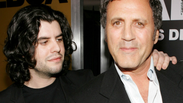  Sage Stallone, left, and his uncle Frank Stallone arrive at the Hollywood premiere of 