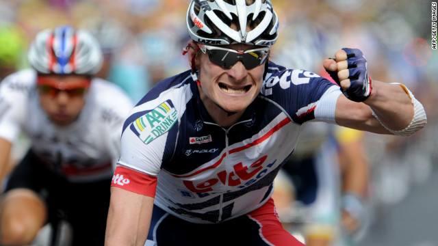 Andre Greipel celebrates his superb victory on the 13th stage of the Tour de France.