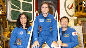 Flight engineer Sunita Williams, Soyuz commander Yuri Malenchenko and flight engineer Aki Hoshide.