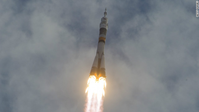 The Soyuz TMA-05M rocket launches from the Baikonur Cosmodrome on Sunday in Kazakhstan.
