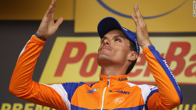 Luis Leon Sanchez celebrates victory for his Rabobank team on a day of drama in the 14th stage of the Tour de France