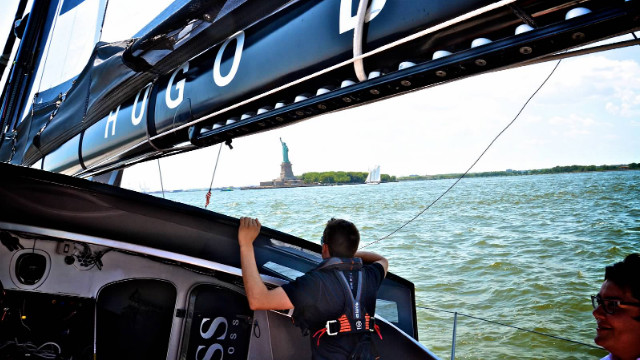 On the test boat ride with John and Alex, the crew rides by an iconic vision: The Statue of Liberty.