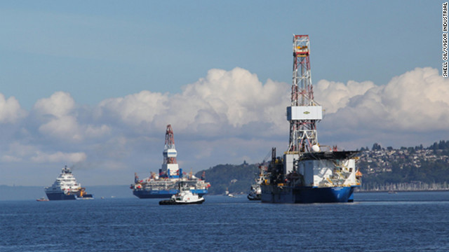 Shell Oil plans to use its Noble Discoverer, right, for drilling in the Arctic.