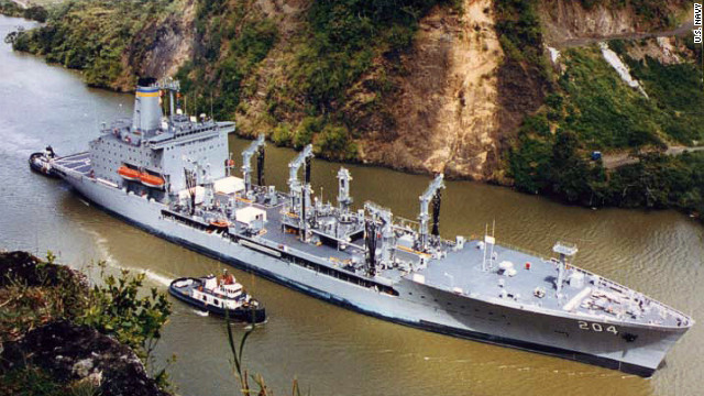 The USNS Rappahannock, a fuel resupply ship, fired on what the officials called a
