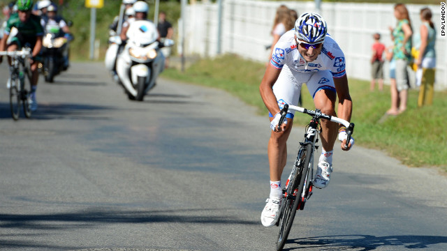 Pierrick Fedrigo of France sprints to the finish to win the 15th stage of the Tour de France on Monday, July 16, covering 160 kilometers (99 miles) from Samatan to Pau, France.