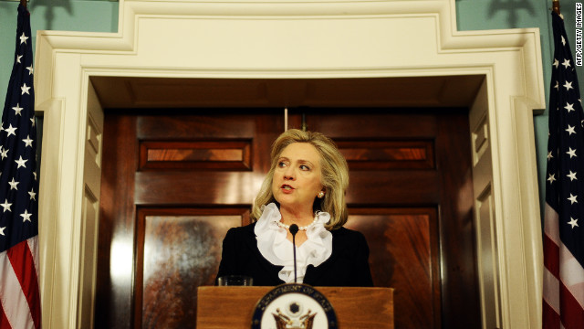 U.S. Secretary of State Hillary Clinton speaks to the media in Washington on August 18, 2011. Clinton said U.S. sanctions on Syrian oil 
