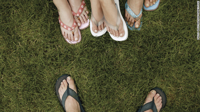 Although wearing flip-flops can lead to foot pain, many people appreciate the sandals' ease and breathability.
