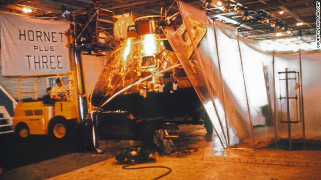 "The capsule hatch was locked and sealed before the spacecraft was hoisted aboard the Hornet and kept in its own quarantine area, just in case. ""We all took strips of that gold foil as souvenirs,"" said Wolfram."