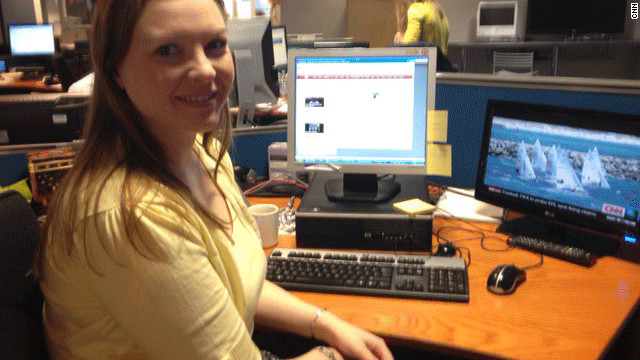 Sarah Brown at her new desk at CNN