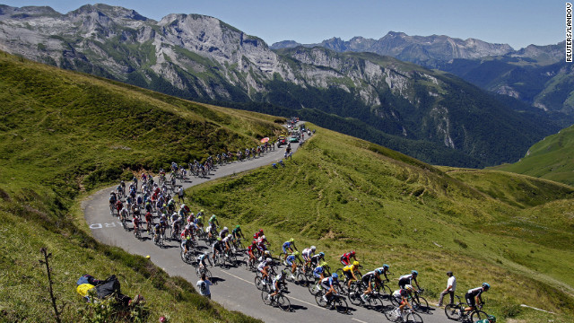 Riders race through the Pyrenees Mountains on Wednesday on a difficult course that contained two &quot;beyond categorization&quot; sections, climbs that are so hard they are considered off the charts.