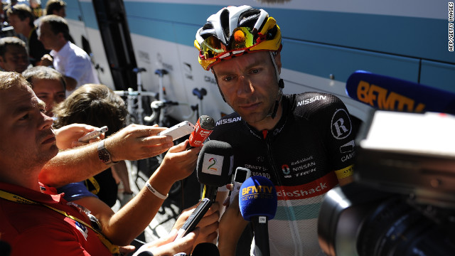 Germany's Jens Voigt of team Radioshack-Nissan answers journalists' questions Wednesday after teammate Frank Schleck tested positive for a banned substance overnight and withdrew from the race.
