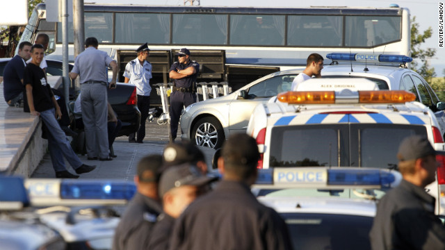Police officers gather outside Bulgaria's Burgas Airport on the Black Sea coast.