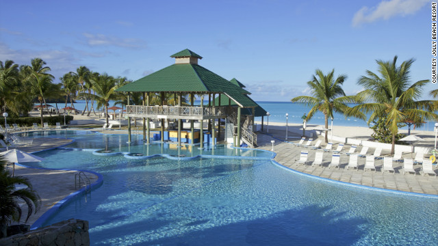 Jolly Beach Resort & Spa is great for those who want to get out on the turquoise water. Kayaks, Hobie Cats and paddleboats are all at the ready and there are also two pools. <a href='http://www.budgettravel.com/slideshow/photos-best-budget-beachfront-all-inclusives,8613/' target='_blank'>See more photos of the resorts at BudgetTravel.com</a>
