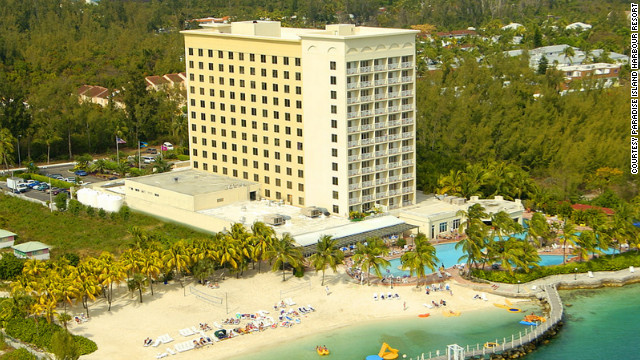 Paradise Island Harbour Resort is on a private beach and has a large pool and three restaurants. &lt;a href='http://www.budgettravel.com/slideshow/photos-best-budget-beachfront-all-inclusives,8613/' target='_blank'&gt;See more photos of the resorts at BudgetTravel.com&lt;/a&gt;
