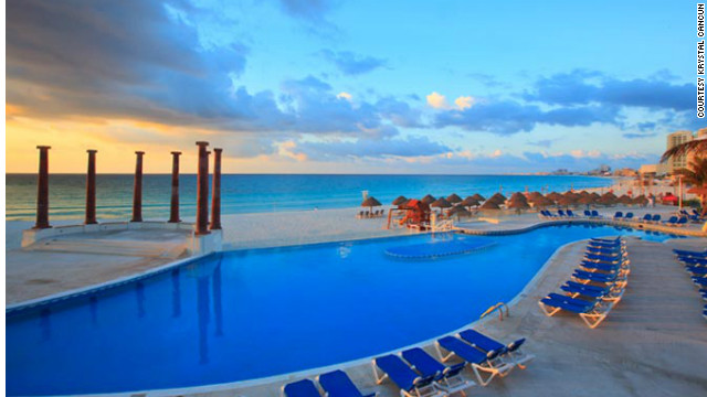 Krystal Cancun is in the heart of the Hotel Zone on Punta Cancun. <a href='http://www.budgettravel.com/slideshow/photos-best-budget-beachfront-all-inclusives,8613/' target='_blank'>See more photos of the resorts at BudgetTravel.com</a>