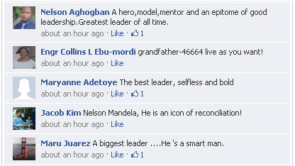 CNNI Facebook fans wrote about what Mandela means to them