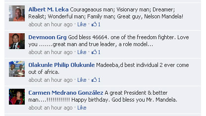 Facebook users say what Mandela means to them