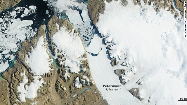 Massive ice island breaks off Greenland glacier