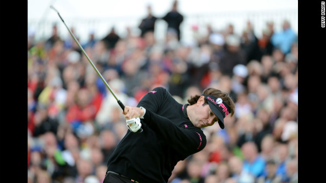 Bubba Watson of the United States hits a tee shot on the fifth hole Thursday. 