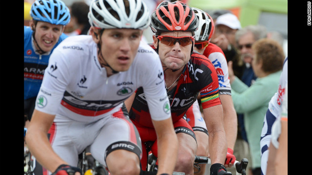 Australian rider Cadel Evans of Team BMC, right, follows closely behind teammate Tejay Van Garderen of the United States, left, who is currently wearing the race's &quot;best young rider's&quot; jersey.