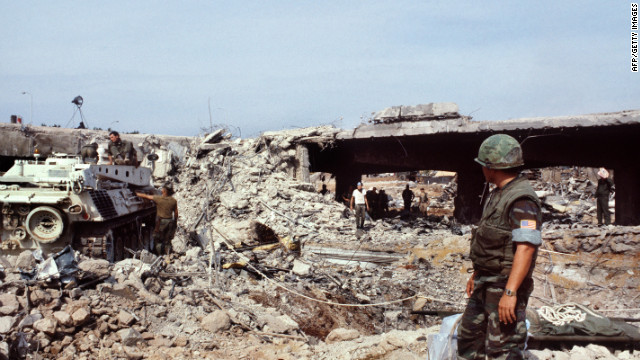 U.S. Marines search for victims in Beirut on October 31, 1983, eight days after an attack that killed 241 American soldiers.