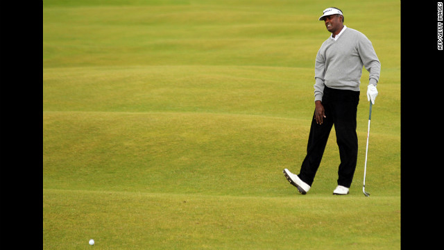 Vijay Singh of Fiji reacts after playing a shot on the third hole Thursday.