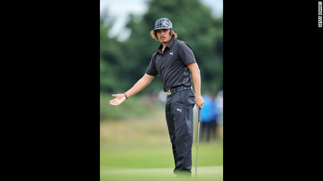 Rickie Fowler of the United States reacts after a putt on the 12th green during the second round Friday.