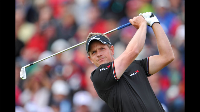 Luke Donald of England tees off on the fifth hole during the second round on Friday.