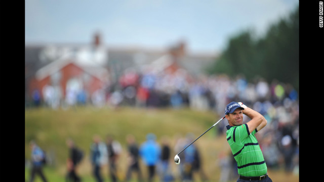Padraig Harrington of Ireland hits a shot during the second round Friday. 